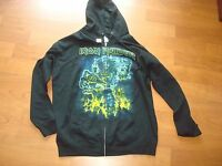 IRON MAIDEN SOMEWHERE BACK IN TIME  EDDIE  2-SIDED ZIPPER HOODIE SWEAT BAND SZ L