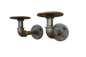 "Pair 3x6"" L Brackets DIY Pipes (10""-14"" deep shelf) urban steampunk rustic decor"