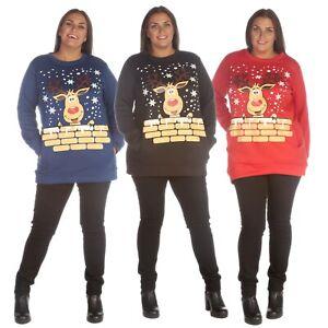 Ladies Plus Novelty Reindeer Rudolph Merry Xmas Pocket Christmas Long Sweatshirt