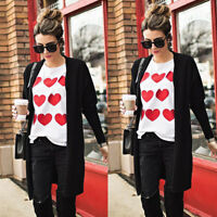 Women Valentine's Heart Print Long Sleeve Sweatshirt Pullover Top Blouse T-Shirt