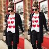 Women Valentine's Heart Print Long Sleeve Sweatshirt Pullover Top Blouse T-Shirt