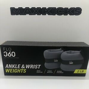 Flo 360 Ankle & Wrist Weights 2 LB Pair 1 LB Each In Box Grey Body Toning New