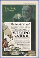 Vintage 1918 STEERO CUBES Beef Bouillon Drink Kitchen Decor Ephemera Print Ad
