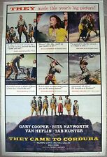 """One sheet US 1 movie poster THEY CAME TO CORDURA Cooper Western 27x41"""" Film 1959"""