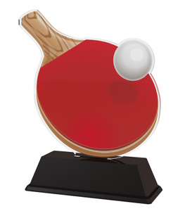 TABLE TENNIS TROPHY CUT TO SHAPE ACRYLIC *FREE ENGRAVING* 100mm - 4 SIZES!
