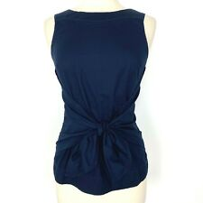 Anthropologie Odille Tie Front Back Shell Tank Top Size 4 Navy Blue Sleeveless