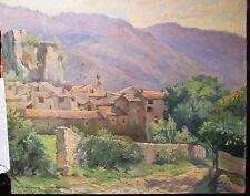 jolie peinture huile d'un village corse, signée