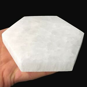 "XL Polished Selenite ""Charging"" Plate Flat Natural Crystal Display Hexagon Tile"