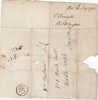 * 1782 2 LINE MANCHESTER PMK WRAPPER & BISHOPMARK > CHALMER BOUNTY OFFICE LONDON