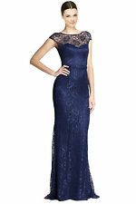 Theia Indigo Blue Cap Sleeve Belted Metallic Lace Evening Gown Size 2 NWT $895