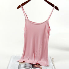 Women Silk Camisole Tank Top Vest Sleeveless Basic T-shirt Comfy Solid Thin Soft
