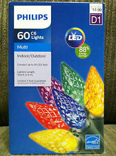 Philips 60 LED Multi-color C6 Lights Green Wire Indoor/Outdoor NIB