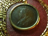 """1917 Canada Large Cent Pendant on a 24"""" 18kgf Gold Filled Figaro Chain"""