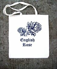 HAND SCREEN PRINTED 'ENGLISH ROSE'  TOTE SHOPPING BAG