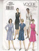 Vogue Dress Mock Wrap Sleeve Length Variation Sewing Pattern 7693 Sz 6-10 Uncut