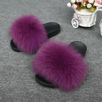 Beach Women's Fluffy Real Fox/Raccoon Fur Slider Fluffy Slides Slippers Sandals