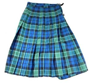 """Kilt Makers Inverness  HECTOR RUSSELL Pure Wool GREEN Pleated Plaid Kilt SZ 28"""""""