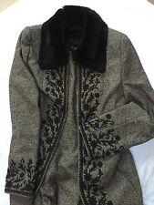 Escada Black Label brown tweed dress & matching coat suit fur collar S 6 38