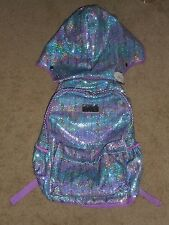 Justice Hooded (Detachable) Sequin Backpack Blue/Purple  New