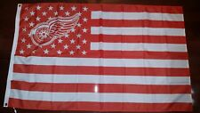 Detroit Red Wings 3x5 American Flag. US seller. Free shipping in the US