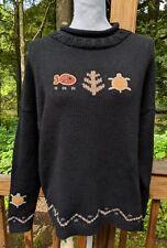 J. Jill Black Cotton Sweater Hand Loomed Peru with Fish, Turtle & Tree Plus sz 3