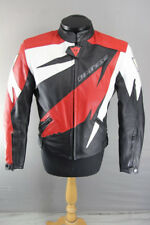 DAINESE BLACK, RED & WHITE LEATHER RACING/SPORTS BIKER JACKET + CE ARMOUR 38 IN