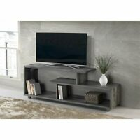60 inch Rustic Solid Wood Asymmetrical TV Stand Console in Grey
