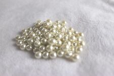 lot of 100 ivory glass dyed 8mm pearls (5080)