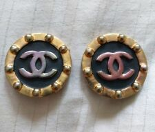Authentic CHANEL Vintage CC Logo Clip On Earrings black large round