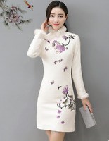 Women's Fur Trim Chinese Retro Embroidery Flower Dress Slim Long Sleeve Winter