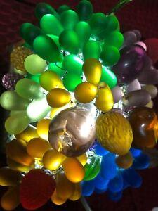 Lg ART DECO CZECH BOHEMIAN CRYSTAL BEADED GLASS FRUIT & NUT BASKET TABLE LAMP