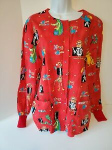 Cherokee Womens Scrub Top with Pockets Size Small Red Animals