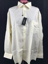TYNER-SHORTEN Men's Cotton Dress Shirt Lemon + White Stripe, Size 15 1/2 L NWT
