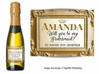 PERSONALISED gold / gold MINI Champagne Wine bottle labels Wedding Hen Birthday