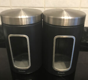 Brabantia Black Window Storage Jars Cannisters Set Of Two-Pre Owned