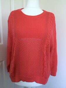 bnwt MARKS & SPENCER JUMPER UK 22 CHUNKY CABLE KNIT FLAME CORAL 100% COTTON KNIT