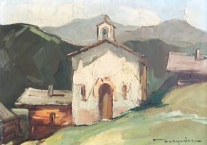 """Elie BERNADAC (1913-1999) huile/ isorel."""" Chapelle"""". v223"""