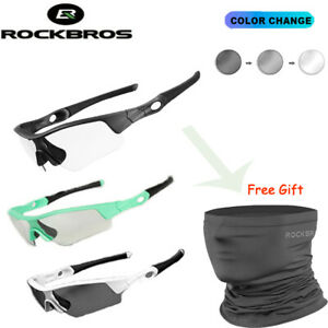 ROCKBROS Photochromic Cycling Sunglasses UV400 Gift Outdoor Ice Silk Scarf Black