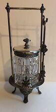 Antique Victorian James W Tufts Glass Pickle Castor complete set .