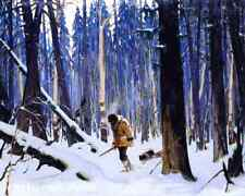 Trapper in the Woods by Clarence Gagnon - Snow Hunter Dog Trees 8x10 Print 1881