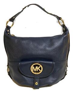 MICHAEL KORS FULTON Navy Blue L Leather Hobo Shoulder Bag NWT Gorgeous! 🌹