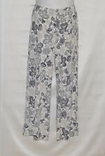 Joan Rivers Floral Print Pull On Pants Size S Ivory Multi