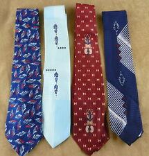 4 Vtg Men's Silk Ties Regular Classic Southwestern Native Indian Blue Red T49AA
