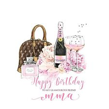 Personalised handmade Happy Birthday CARD Girl Female Friend 18.21.30.40