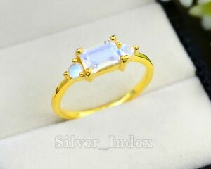 Natural Rainbow Moonstone Gemstone 14K Yellow Gold Plating Wedding Ring For Her