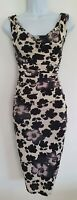 Womens Phase Eight Black Cream Floral Cowl Ruched Draped Midi Bodycon Dress 8Vgc
