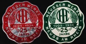 2 alte reklamemarken 1934 jubiläum 25jahre neusser werke IHC, neuss  /0926