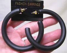 Vtg New Large Black Satin Finish Acrylic Retro Hoop Pierced Earrings 70's 80's