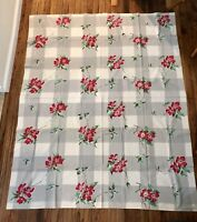 "Vintage Tablecloth Gray Buffalo Check Red Floral 66"" x 53 1/2"" - Wilendur?"