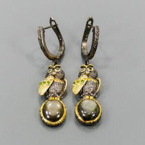 Handmade Black Star Sapphire Earrings Silver 925 Sterling   /E57560